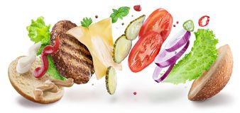 Free Hamburger Ingredients Hanging In The Air. Colorful Conceptual Picture Of Burger Cooking. Clipping Path Royalty Free Stock Image - 139450896
