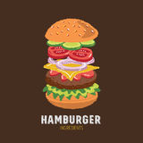 Hamburger Ingredients icon Stock Image