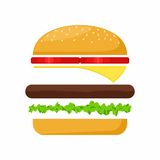 Hamburger ingredients meat, lettuce, cheese and tomato. Fast Food Vector Stock Photography