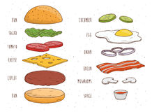 Hamburger ingredients separately. Bun, salad, tomato, cheese, cutlet, egg, bacon, mushrooms, onion, ketchup. Colorful. Hamburger ingredients separately. Bun Stock Images