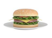 Hamburger isolado no branco Fotografia de Stock