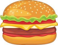 Hamburger isolado no branco Fotos de Stock Royalty Free