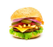 Hamburger isolated on white Royalty Free Stock Photography