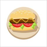 Hamburger. Isolated on white background. Vector illustration Stock Image