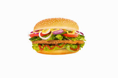 Hamburger isolated. Hamburger witch onion isolated white background Stock Photos