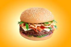 Hamburger isolated on yellow background Stock Photo