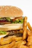 Hamburger isolato con le fritture Immagine Stock Libera da Diritti