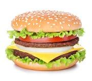 Hamburger isolato su bianco Fotografia Stock Libera da Diritti