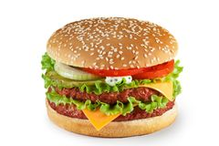 Hamburger isolato su fondo bianco fotografia stock