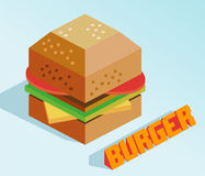 Hamburger isometrico Immagine Stock Libera da Diritti