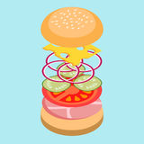 Hamburger isometrico Fotografie Stock