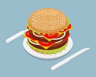 Hamburger isometrics. 3D Fast food on plate. Cutlery fork and kn Royalty Free Stock Images