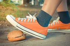 Hamburger and jogging , process in vintage style Stock Photo