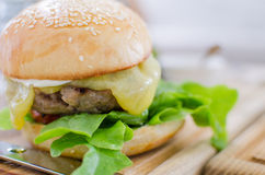 Hamburger with juicy beef and cheese Stock Images