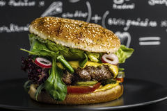 Hamburger. A juicy hamburger on a dark background Stock Images