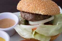 Hamburger. With juicy meat and veggie Stock Photos