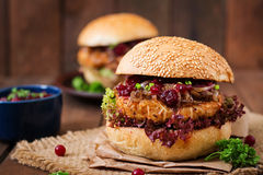 Hamburger with juicy turkey burger Stock Photo