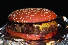 Hamburger juteux délicieux avec de la sauce à cerise photo libre de droits