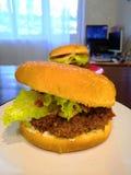 Hamburger juteux délicieux cuit à la maison image stock