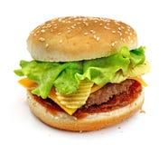 Hamburger, kanapka, hamburger z serem, zielona sałatka, układy scaleni, mięśni paszteciki i babeczki z sezamowymi ziarnami na bia Obrazy Royalty Free