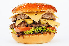 Hamburger kanapka z wołowiną i serem Obraz Stock