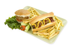 Hamburger and kebab sandwich Royalty Free Stock Photos