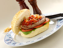 Hamburger With Ketchup Royalty Free Stock Photos