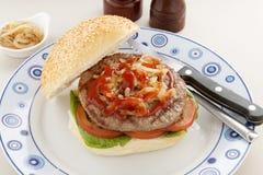Hamburger With Ketchup Royalty Free Stock Images