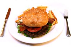 Hamburger knife fork Royalty Free Stock Photo