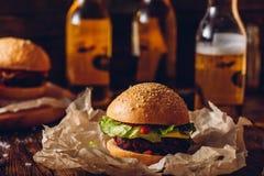 Hamburger on Kraft Paper. royalty free stock photography