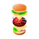Hamburger - la vue de chaque ingrédient. Images stock