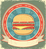 Hamburger label set on old paper Stock Photo