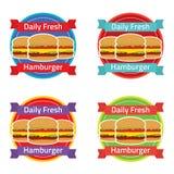 Hamburger Label Set Royalty Free Stock Images