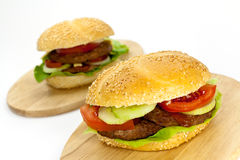 Hamburger with lettuce,cheddar,tomato Royalty Free Stock Images