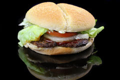 Hamburger with lettuce, tomato and onion Stock Images