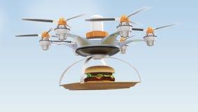Hamburger levando do zangão para o conceito da entrega do fast food ilustração do vetor