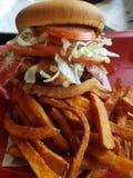 hamburger libero del glutine con bacon Fotografia Stock