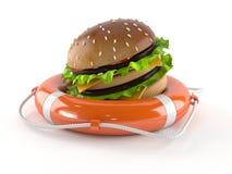 Hamburger with life buoy Stock Photo