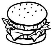 Hamburger Line Drawing. Hamburger sandwich cartoon line drawing, horizontal, vector illustration, isolated Stock Photo