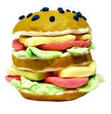 Hamburger made of plasticine. Looking like a toy vector illustration