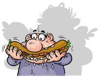 Hamburger man. Cartoon image of a funny man eating sandwich Royalty Free Stock Photos