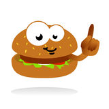Hamburger mascot. Illustration of hamburger as cartoon comic character, pointing the finger and smiling, cool idea for fast foods and restaurants Royalty Free Stock Photo