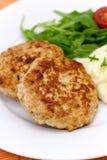 Hamburger with mashed potato,rucola salad.  stock photos