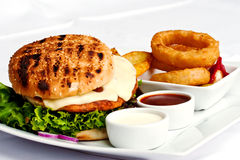 Hamburger meal. With onion rings Stock Photography