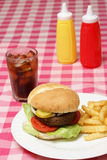 Hamburger Meal. A freshly cooked hamburger and fries meal on a checkered tablecloth Royalty Free Stock Photography