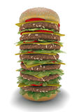 Hamburger meal XXL. The biggest burger in the world Royalty Free Stock Photography