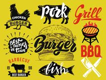 Vector hamburger menu. Hamburger with meat, checken, beef and bbq Royalty Free Stock Photos