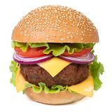 Hamburger with meat, cheese, tomatoes  on white Royalty Free Stock Image