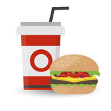 Hamburger with Meat and Cold Drink on White Background Stock Photo