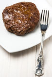 Hamburger Meat Fork White Plate royalty free stock photography